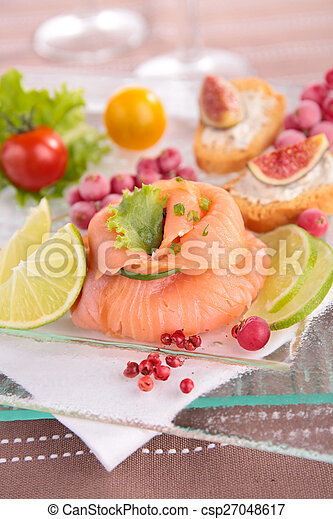 salmon and canape - csp27048617