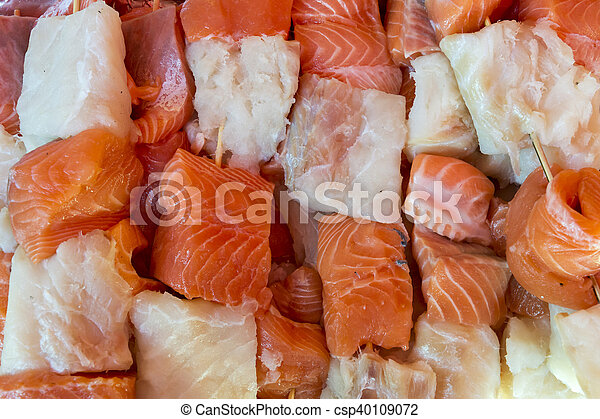 Salmon and cod skewer - csp40109072
