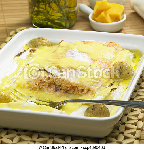 salmon and endive baked with chedar sauce - csp4890466