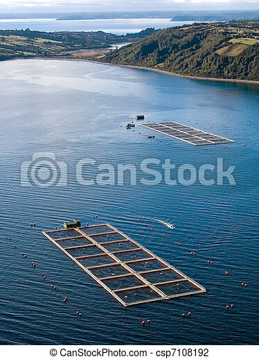 salmon cages on islands in southern Chile - csp7108192