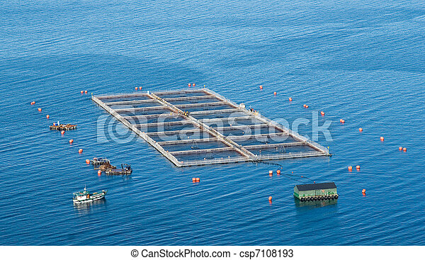 salmon cages on islands in southern Chile - csp7108193