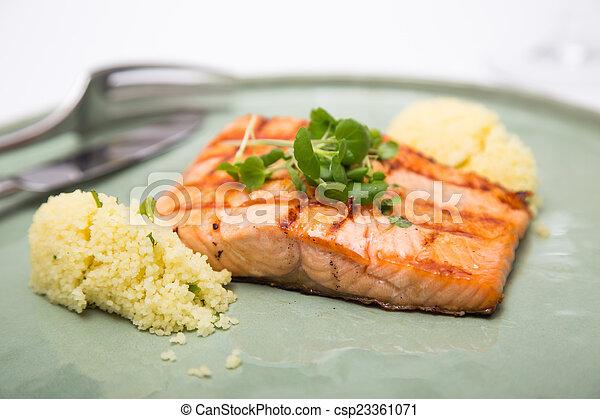 salmon dinner - csp23361071