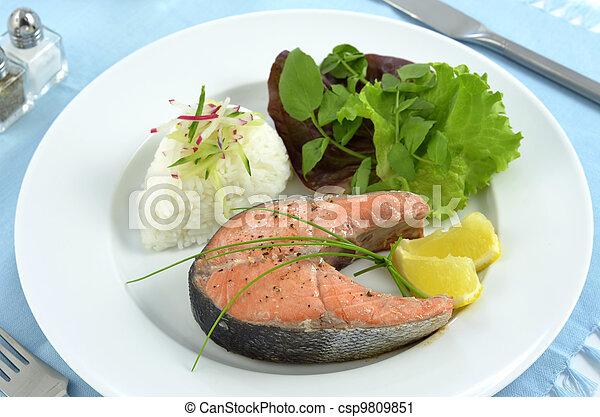 Salmon dinner - csp9809851