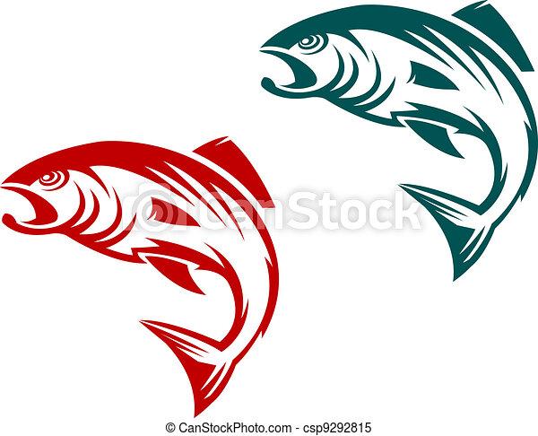 Salmon fish mascot - csp9292815