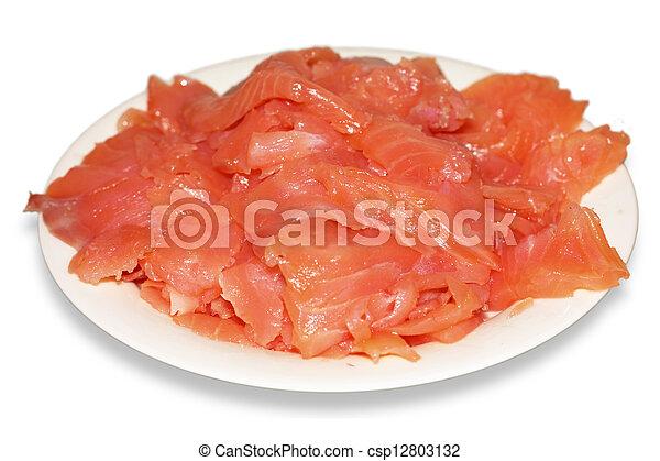 salmon pieces on dish - csp12803132