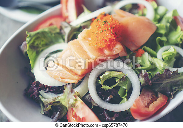 salmon salad with Healthy vegetables - csp65787470