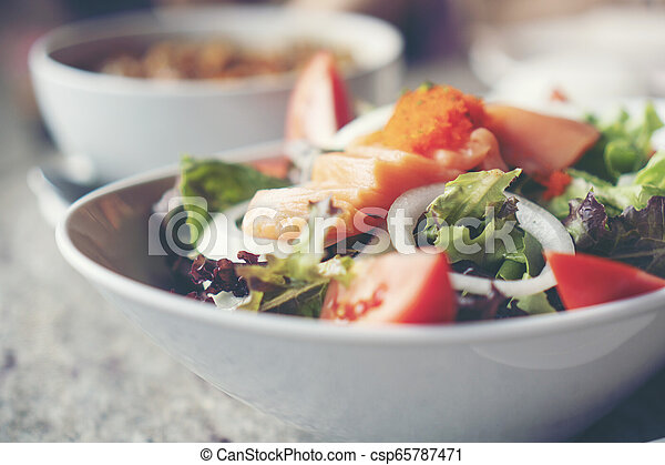 salmon salad with Healthy vegetables - csp65787471
