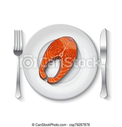 Salmon steak on a white plate - csp79287876