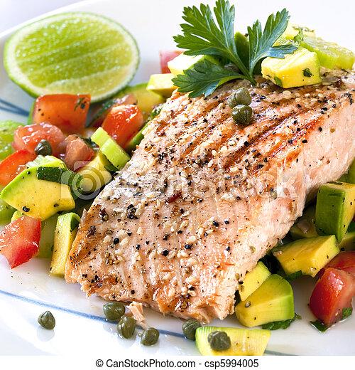 Salmon with Avocado Salsa - csp5994005