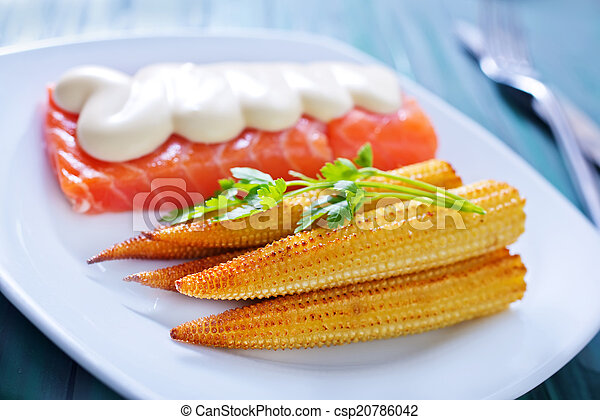 salmon with corn - csp20786042