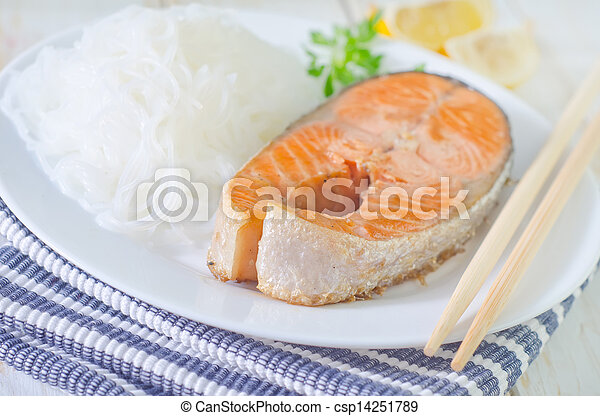 salmon with rice noodles - csp14251789
