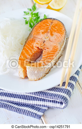 salmon with rice noodles - csp14251791
