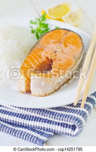 salmon with rice noodles - csp14251795