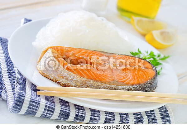 salmon with rice noodles - csp14251800