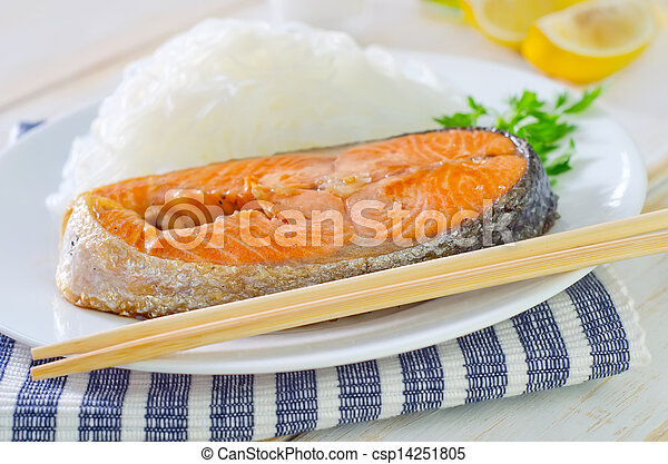 salmon with rice noodles - csp14251805