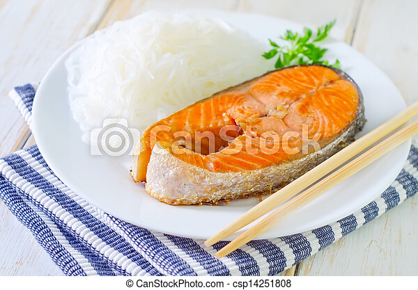 salmon with rice noodles - csp14251808