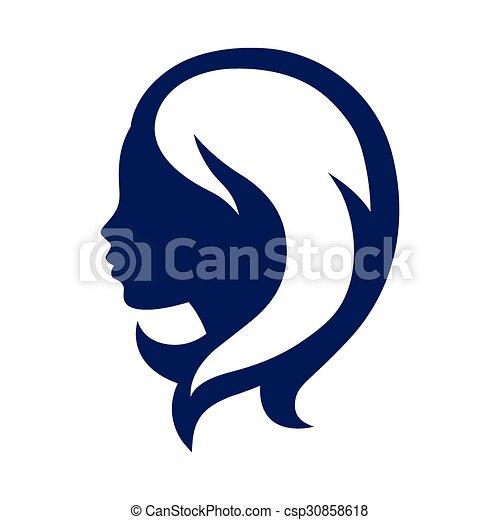 salon, begrepp, silhuett, skönhet, kvinna, emblem, eller, frisering - csp30858618