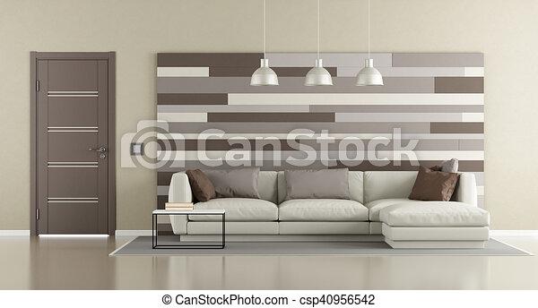 Salon, brun, moderne, beige. Décoratif, porte brune, mur, moderne ...