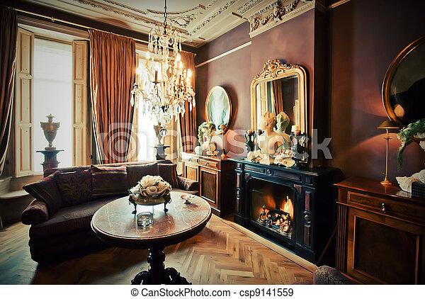salon, chambre hôtel - csp9141559