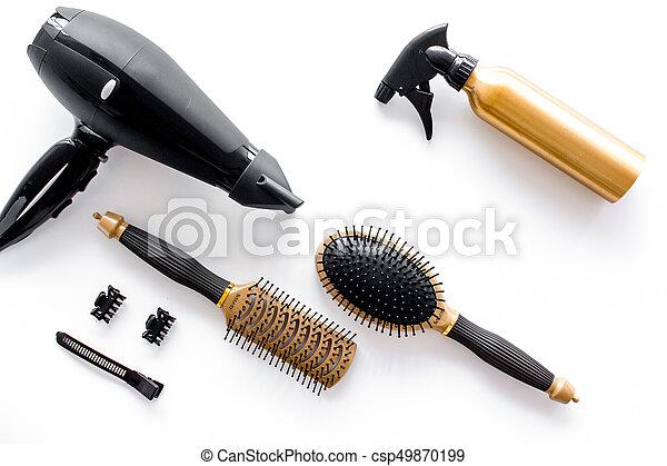 salon, copyspace, beauté, coiffeur, sommet, fond, blanc, sèche cheveux, outils, vue