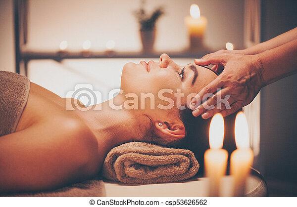 salon, femme, beauté, délassant, massage., figure, brunette, facial, spa, apprécier, masage - csp53626562