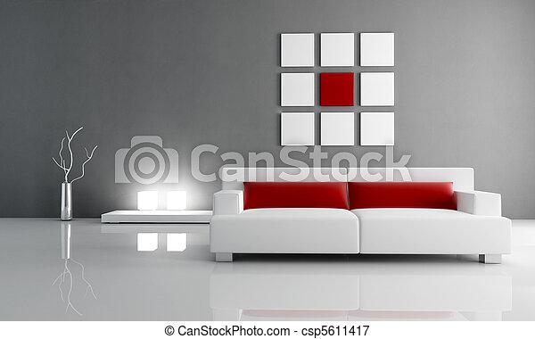 salon, grijs, rood - csp5611417