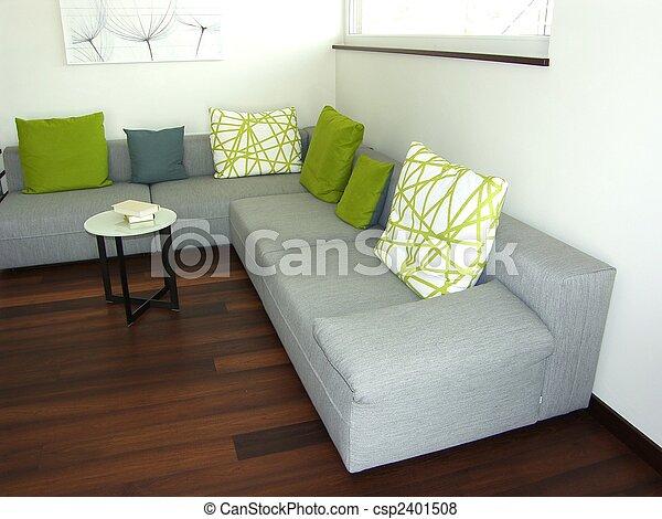 salon, vivant, moderne, -, salle - csp2401508