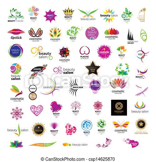Colección de logos vectoriales para salones de belleza de cosméticos - csp14625870