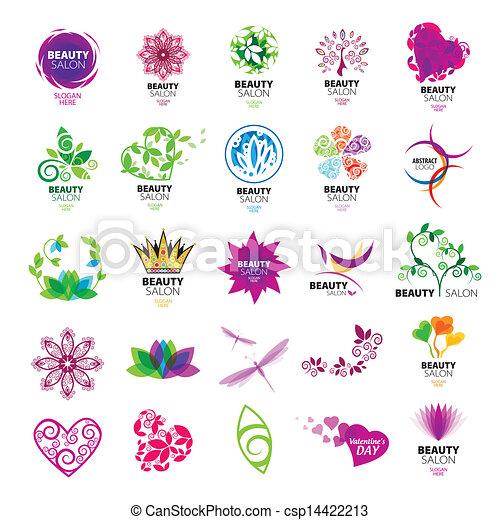 salons, logos, vektor, samling, skønhed - csp14422213