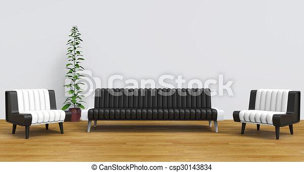 salotto, 2, stanza moderna - csp30143834