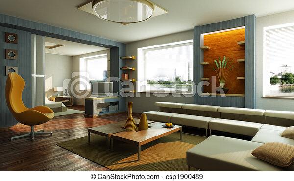 salotto, interno, stanza moderna - csp1900489