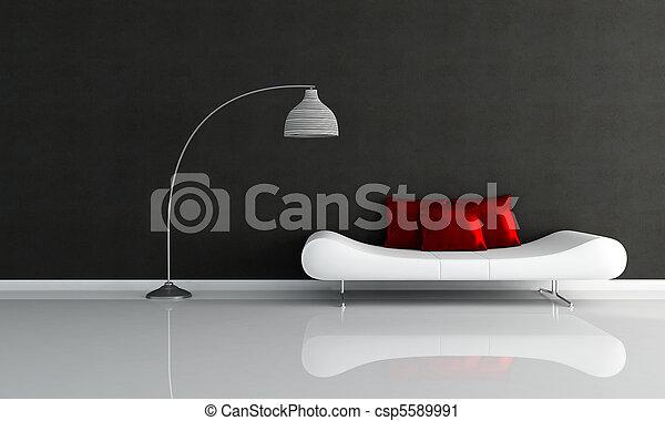 salotto, minimalista, bianco, nero - csp5589991