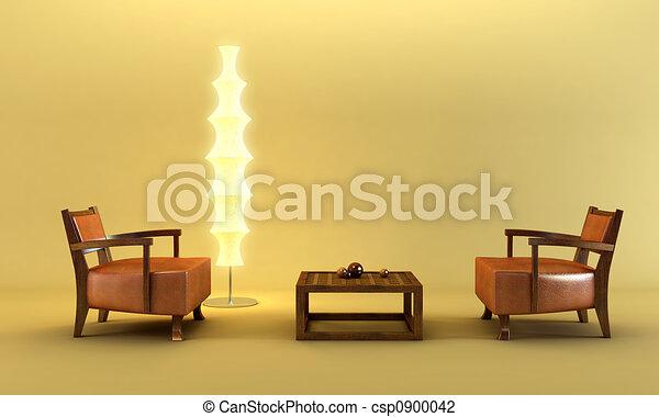 salotto, stile, asiatico, stanza - csp0900042