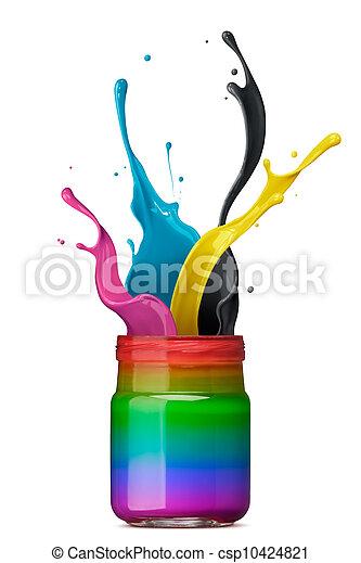 Tinta colorida salpicando - csp10424821