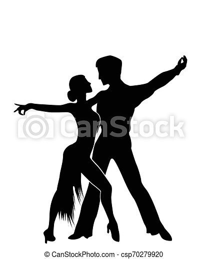 Salsa Dancers Silhouettes Isolated And Grouped Objects Over White Background