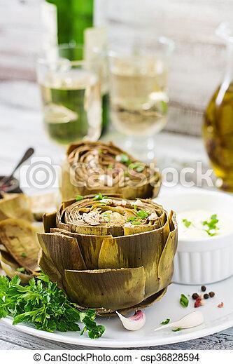 salsa, senape, prezzemolo, carciofi, cotto, aglio, cotto - csp36828594