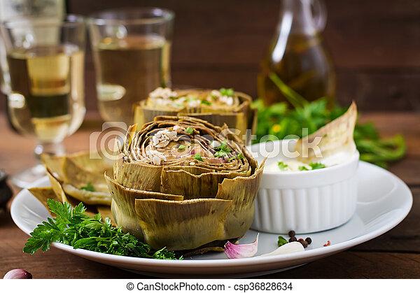 salsa, senape, prezzemolo, carciofi, cotto, aglio, cotto - csp36828634