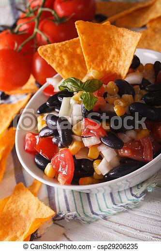 salsa, verticaal, koren, food:, nachos, frites, macro., mexicaanse , kom - csp29206235