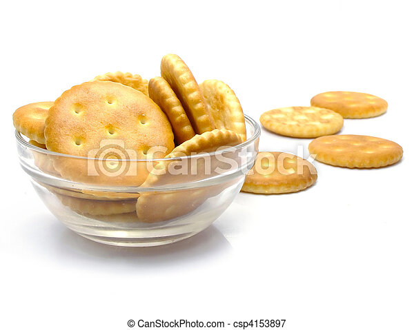 Salt crackers food in the glass vase isolated - csp4153897