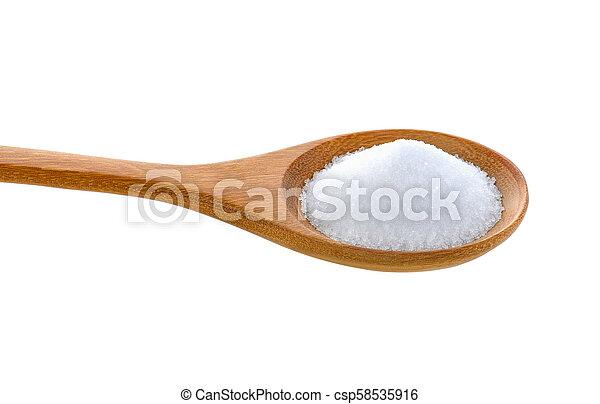 Salt in wooden spoon on white background - csp58535916