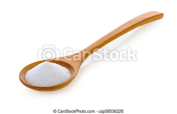 Salt in wooden spoon on white background - csp58536228