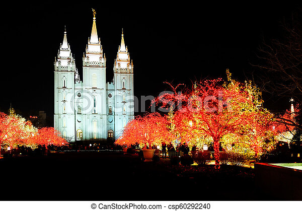 Temple Square Salt Lake City Christmas Lights.Salt Lake City Mormon Temple Christmas Lights
