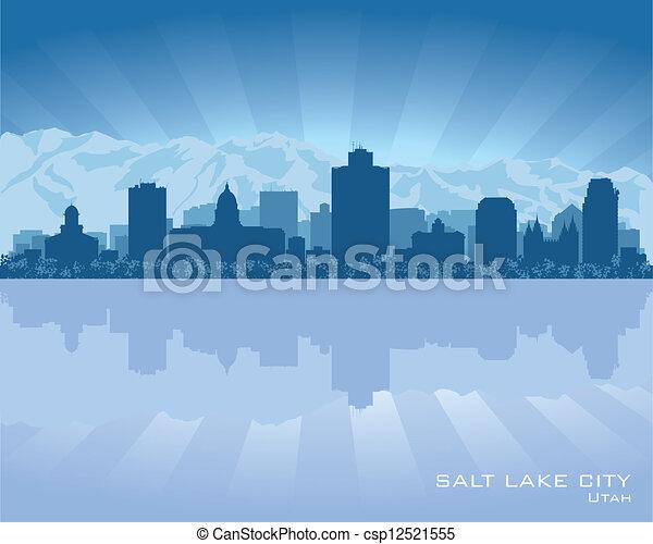 Salt Lake City, Utah skyline city silhouette - csp12521555