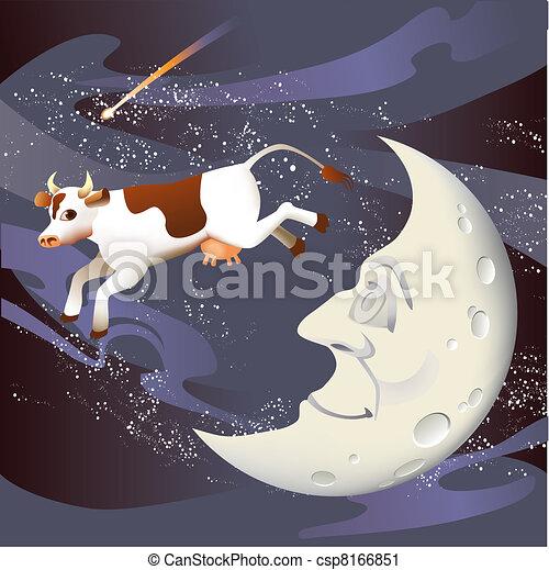 La vaca saltó sobre la luna - csp8166851
