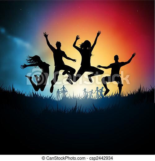 saltar, adultos jóvenes - csp2442934