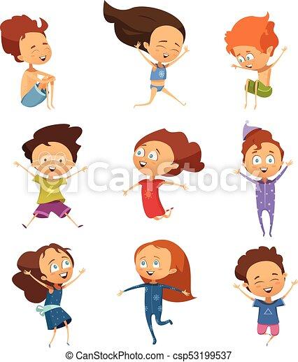 Un grupo de lindos niños saltarines de dibujos animados - csp53199537