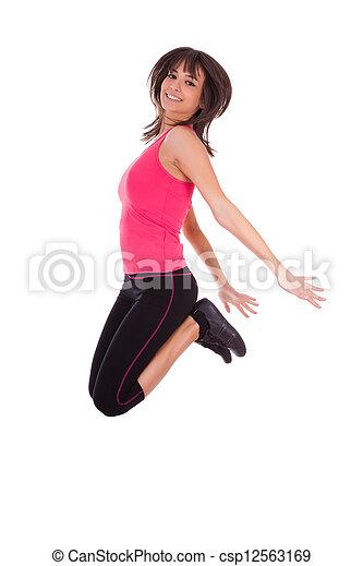 Pésima pérdida, mujer en forma saltando de alegría - csp12563169