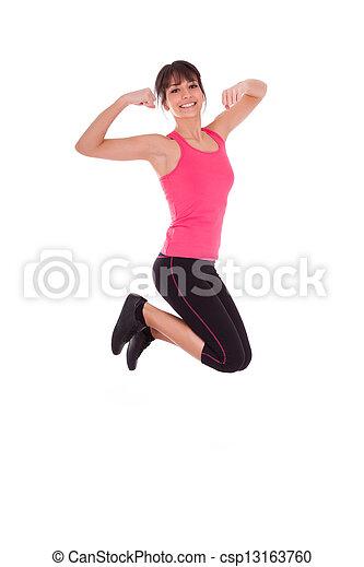 Pésima pérdida, mujer en forma saltando de alegría - csp13163760