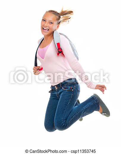 De vuelta a la escuela. Feliz y sonriente estudiante de secundaria saltando - csp11353745