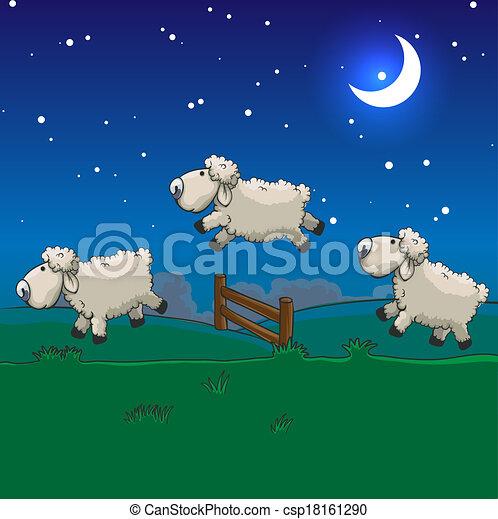 Tres ovejas saltando sobre la valla. Cuéntalos para dormir. - csp18161290